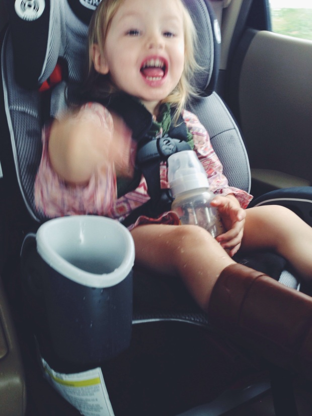 On our way home from church she emptied her water into her cup-holder and proceeded to drink it with her hands while simultaneously soaking herself and the entire car.